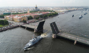 Rehearsal of Russian Navy Day military parade in St Petersburg